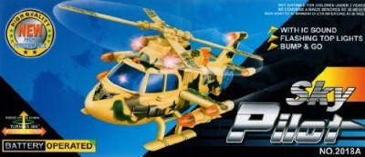 Zovi Pilot Rolling Helicopter Toy with Flashing Lights & Sound (Ages 3 - 10) by Zovi Inc.