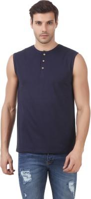 Le Bourgeois Solid Men Round Neck Dark Blue T-Shirt at flipkart