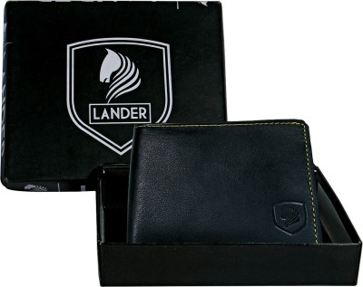 LANDER Boys Black Genuine Leather Wallet 5 Card Slots