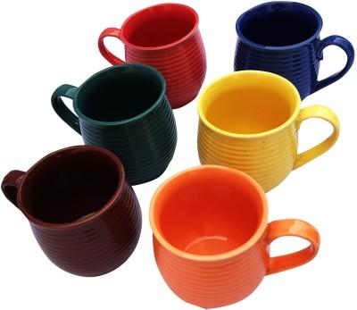 Gallery99 Designer MultiColor Ceramic Clay Tea & Coffee Cups Ceramic(Multicolor, Pack of 6) at flipkart