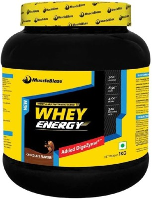MuscleBlaze Whey Energy Protein Supplement Powder with Vitamins & Minerals (Chocolate, 1KG)