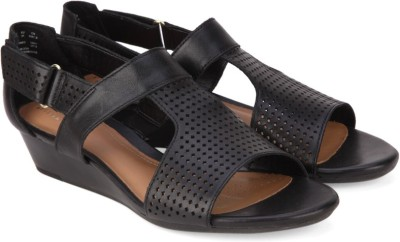 Clarks Women Black Leather Wedges