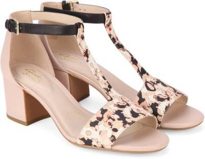 Clarks Women Nude Pink Combi Heels