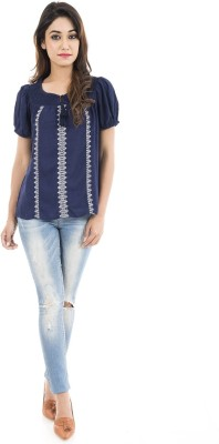 Amadore Casual Short Sleeve Embroidered Women Blue Top
