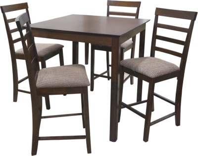 Eros Heighted Solid Wood 4 Seater Dining Set(Finish Color - Walnut)