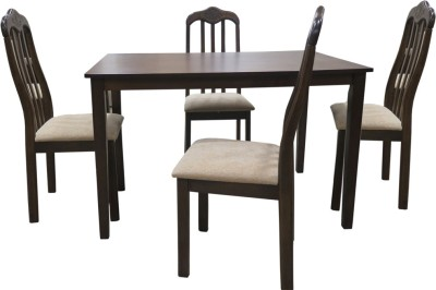 Eros Tansu Solid Wood 4 Seater Dining Set(Finish Color - Walnut)