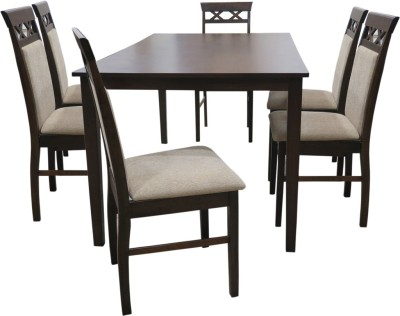 Eros Premium Solid Wood 6 Seater Dining Set(Finish Color - Walnut)