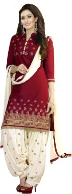 Aashvi Creation Cotton Embroidered Salwar Suit Dupatta Material(Un-stitched)