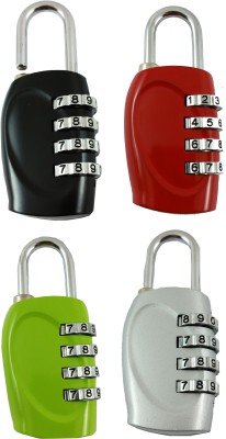 DOCOSS Set Of 4-4 Digit Brass Small Bag Locks Travel Luggage Resettable Password Combination Safety Lock(Multicolor)  available at flipkart for Rs.882