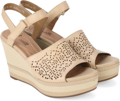 Clarks Women Nude Leather Wedges at flipkart