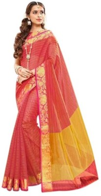 Gilehriyaan Embroidered Fashion Khadi, Silk Saree(Pink)  available at flipkart for Rs.999