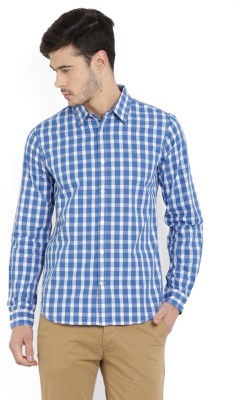 United Colors of Benetton Men's Checkered Casual Blue Shirt at flipkart