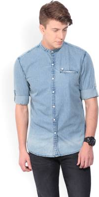 John Players Men's Solid Casual Blue Shirt