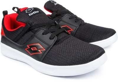 Lotto String Running Shoes(Black, Red) at flipkart
