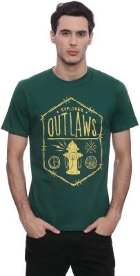 urbantouch Printed Men's Round Neck Green T-Shirt