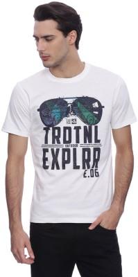urbantouch Printed Men's Round Neck White T-Shirt