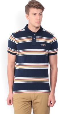 U.S. Polo Assn Striped Men's Polo Neck Multicolor T-Shirt