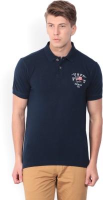 U.S. Polo Assn Solid Men Polo Neck Dark Blue T-Shirt