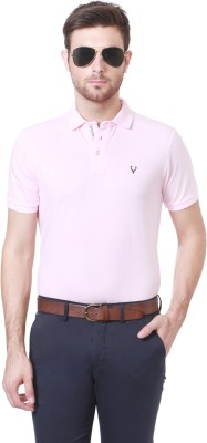 70f0ca2a1 Allen Solly Solid Men s Polo Neck Pink T Shirt Best Price in India ...