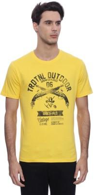 urbantouch Printed Men's Round Neck Yellow T-Shirt