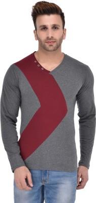 BigIdea Color block Men V-Neck Grey, Maroon T-Shirt