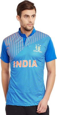 Sportigo Geometric Print Men Turtle Neck Blue T-Shirt at flipkart