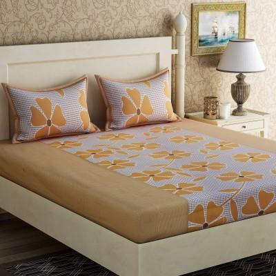 Zesture Cotton Floral Queen sized Double Bedsheet(1 Queen Bedsheet, 2 Pillow Covers, Yellow) at flipkart