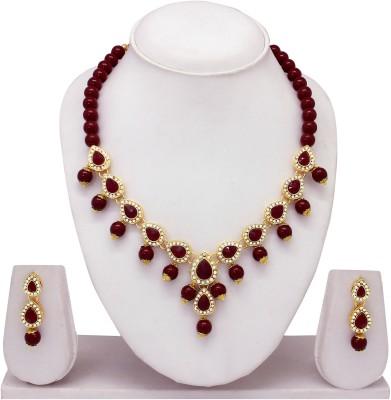 Atasi International Alloy Jewel Set(Gold, Maroon) at flipkart