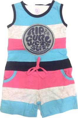 Desi Weaver Self Design Girls Jumpsuit