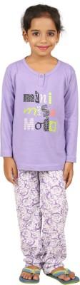 Sand Beach Kids Nightwear Girls Printed Cotton(Purple Pack of 1)