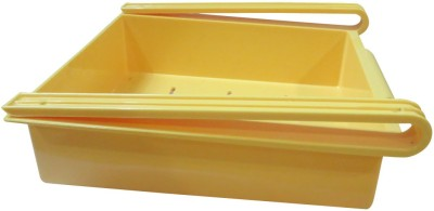 DCS Multifuction Refrigerator Storage space Rack Home Fridge Shelf tray Organization Plastic Kitchen Rack(Yellow)  available at flipkart for Rs.270