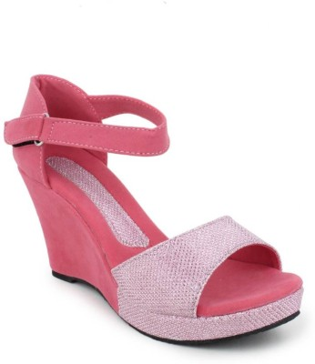 Spellio Women Pink Wedges at flipkart