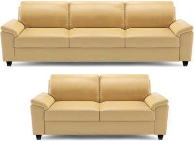 Dolphin Oxford Leatherette 3 + 2 Beige Sofa Set(Configuration - Straight)