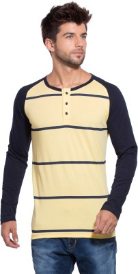 Alan Jones Striped Men Henley Dark Blue, Yellow T Shirt