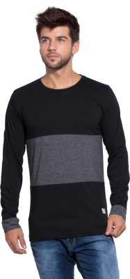 Alan Jones Color block Men Round Neck Black, Grey T-Shirt