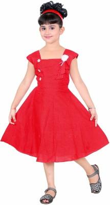 Singham Girls Midi/Knee Length Casual Dress(Multicolor)