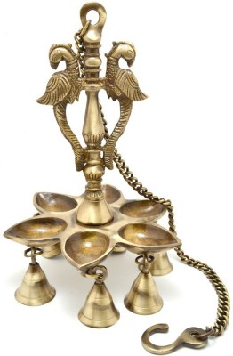 Aakrati Wall Hanging Three Diya Oil Lamp With Small Bells