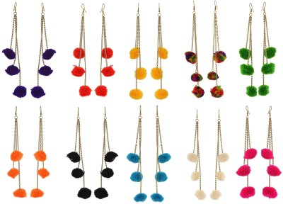BNB Pack Of 10 Multiple Colors Pompom Fabric Dangle Earring at flipkart