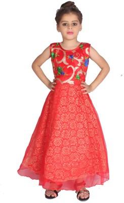 DELHIITE Girls Maxi/Full Length Party Dress(Red, Sleeveless) at flipkart