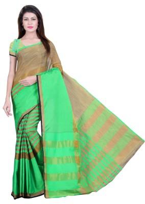 Vimalnath Synthetics Solid Fashion Silk Cotton Blend Saree(Green)