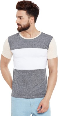 Chill Winston Solid Men's Round Neck Grey, White T-Shirt