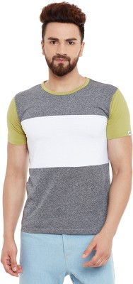 Chill Winston Solid Men's Round Neck Grey, White, Green T-Shirt