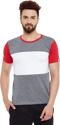 Chill Winston Solid Men's Round Neck Grey, White, Red T-Shirt