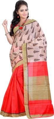 ADHRUVA FASHIONS Printed Fashion Khadi, Silk Saree(Pink)  available at flipkart for Rs.420