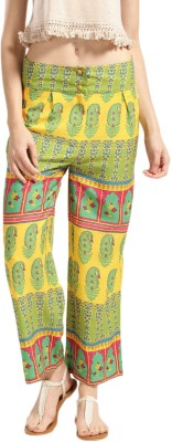 Anouk Regular Fit Women Green, Yellow Trousers at flipkart