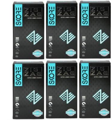 Skore Zig Zag Condoms (10 Condoms) - Pack of 6