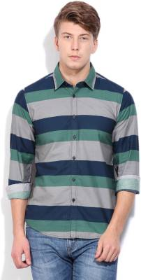 PepeJeans Men's Striped Casual Green Shirt