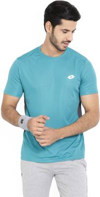 Lotto Solid Men's Round Neck Blue T-Shirt