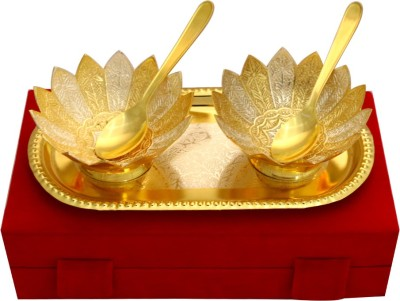 Raj Laxmi GS 2 Tone Lotus Shape 2 Bowl & Tray with 2 Spoons Bowl Spoon Tray Serving Set(Pack of 5) at flipkart