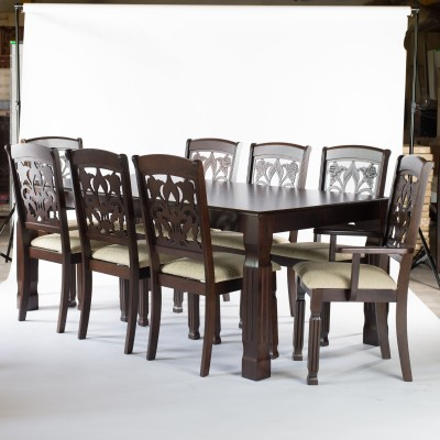 FurnCulture Veneto Solid Wood 8 Seater Dining Set(Finish Color - Brown)